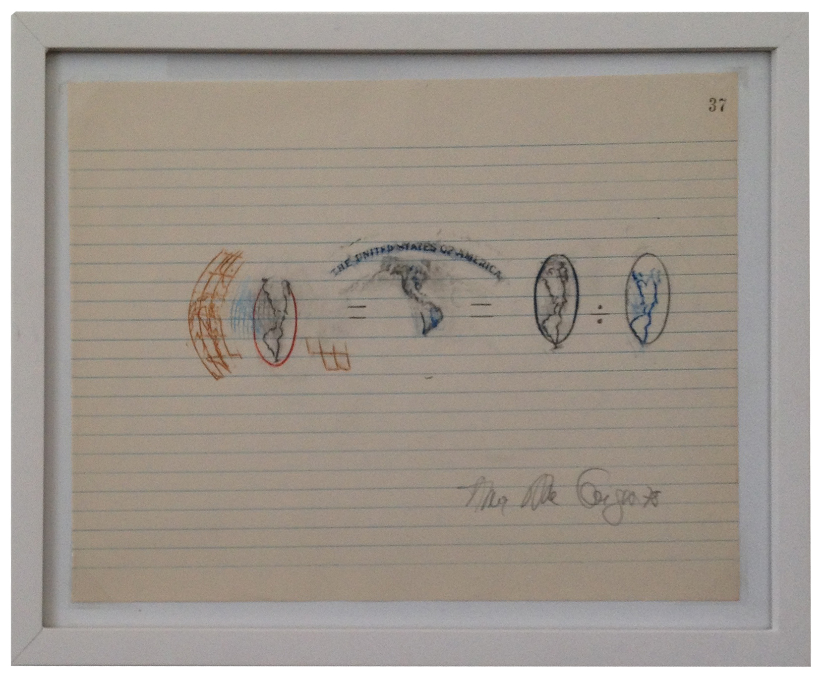 Anna Bella Geiger Variable Equations 1978 Frottage, Graphite, colored pencils on notebook sheet 9 X 13 in