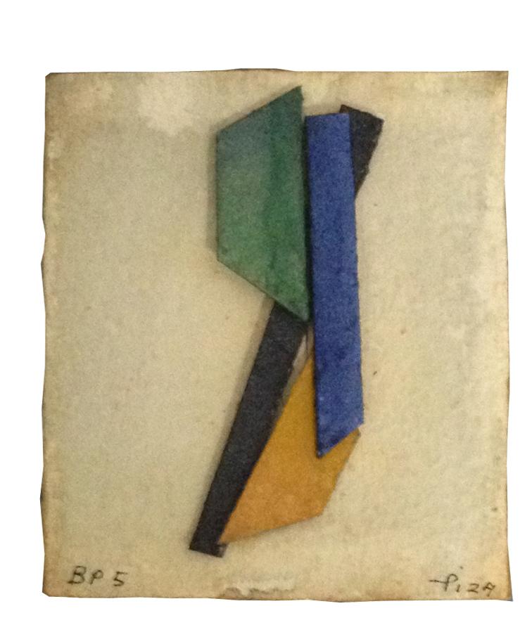 Arthur Luiz Piza, BP 5, Aquarela e colagem sobre papel tourchon, 8,5 x 7,3 cm