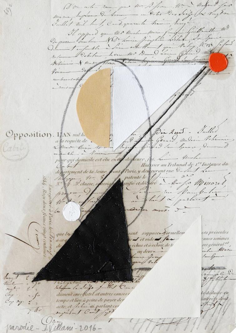 Júlio Villani, Parodie, Papel e óleo sobre manuscrito, 25 x 34,5 cm, 2016.