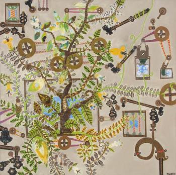 Rodrigo Godá, Série Invenções, Óleo e Têmpera sobre tela, 74 x 74 cm.