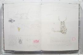 Walmor Corrêa, Sem titulo, Grafite, lapis de cor e tinta sobre papel, encadernacao em papel e couro, 83,5 X 51,5 cm, 2015