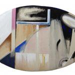Anna Bella Geiger EW18 com rosas e azul cobalto – Série Macio – 1981 Acrílica e óleo sobre tela 62 x 100 cm