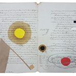 Júlio Villani, Via láctea, Óleo sobre documentos cartoriais, 30 x 42 cm, 2016.