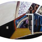 Anna Bella Geiger EW18 com quadrinho visceral, geométrico e informal – Série Macio – 1994/2013 Acrílica e óleo sobre tela 72 x 125 cm