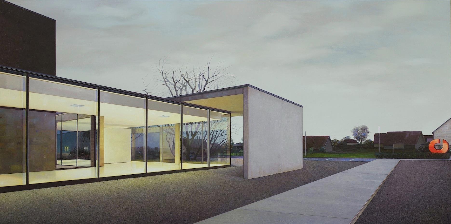 Jens Hausmann, The Village, Oleo Sobre Tela, 110 x 220 cm, 2016