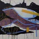 Juliana Gontijo, Lago, Acrílica e pastel oleoso sobre tela com chassi de alumínio, 136 x 150 cm, 2019