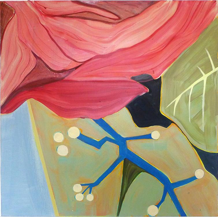 Diana Motta, Rosa Vermelha, Óleo sobre tela, 100 x 100 cm, 2019