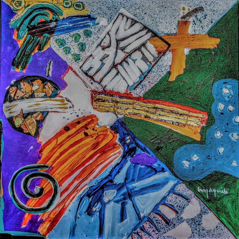 Luiz Aquila, A Pintura, a Lilia, e os relevinhos, Acrílica sobre tela, 50 x 50 cm, 2020