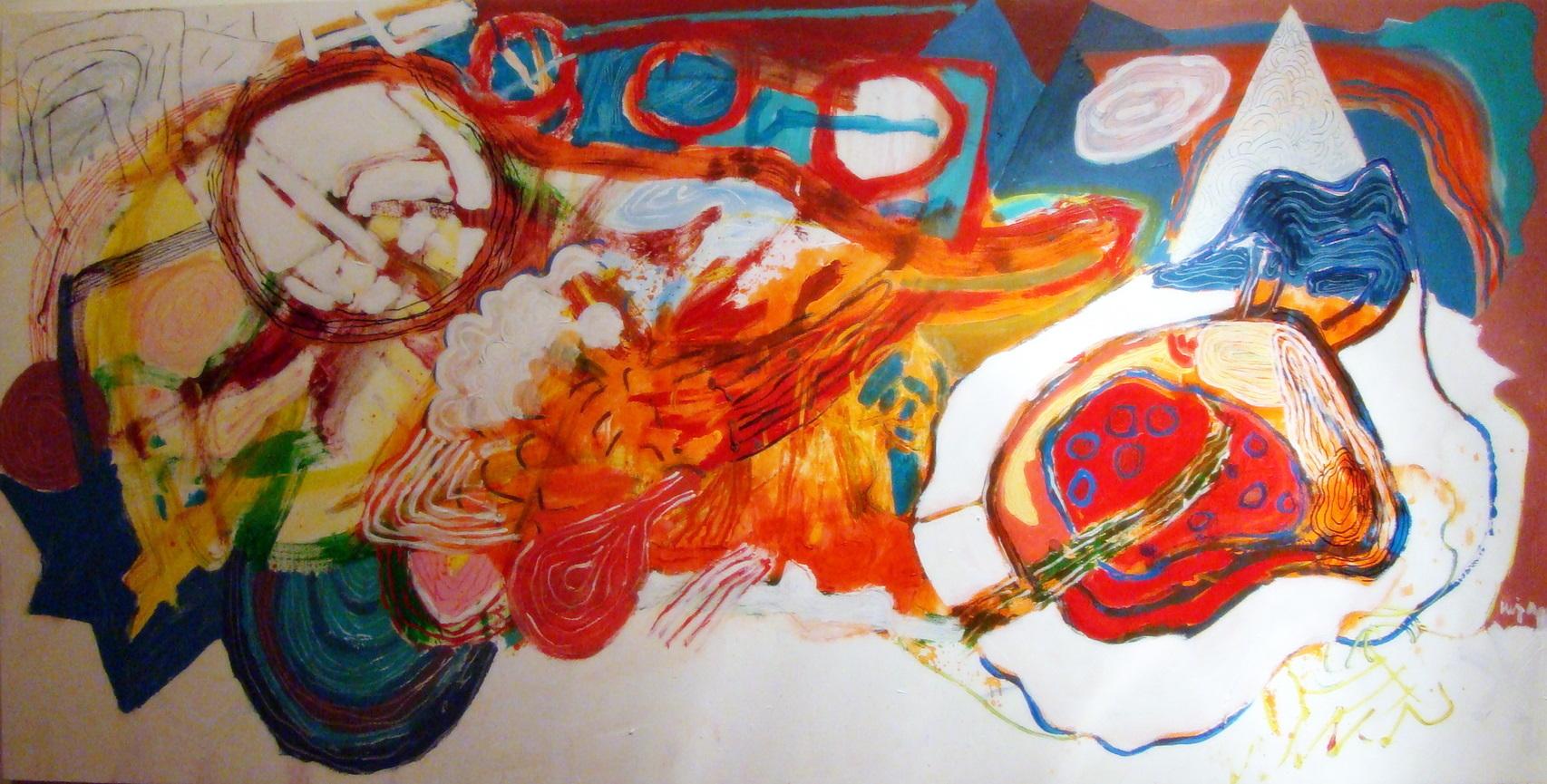 Luiz Aquila, A Pintura e a visita da Nina, Acrílica sobre tela, 100 x 200 cm, 2010