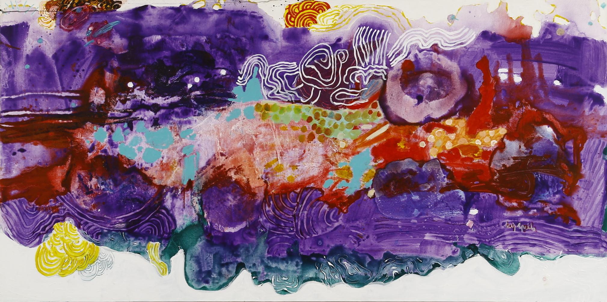 Luiz Aquila, A pintura e a pergunta do título, Acrílica sobre tela, 100 x 200 cm, 2010