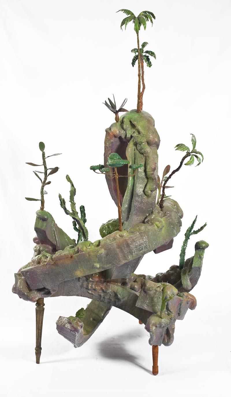 """Bruno Miguel, """"Morro do Polke"""" – Série Móveis paisagens, Isopor, espuma de poliuretano, papel marche, resina acrílica, porcelana fria, arame, partes de móveis, 162 x 95 cm, 2011"""