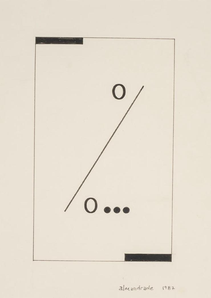 Almandrade, Poema visual, Nanquim sobre papel, 26 x 18 cm, 1987