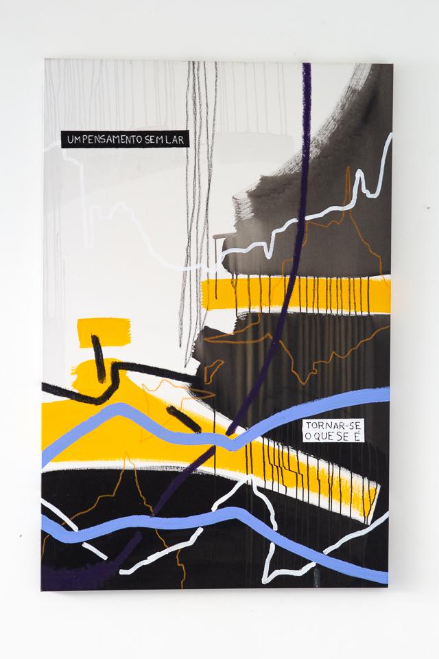 Juliana Gontijo, Um pensamento sem lar, Acrílica e pastel oleoso sobre tela, 148 x 98,5 cm, 2018
