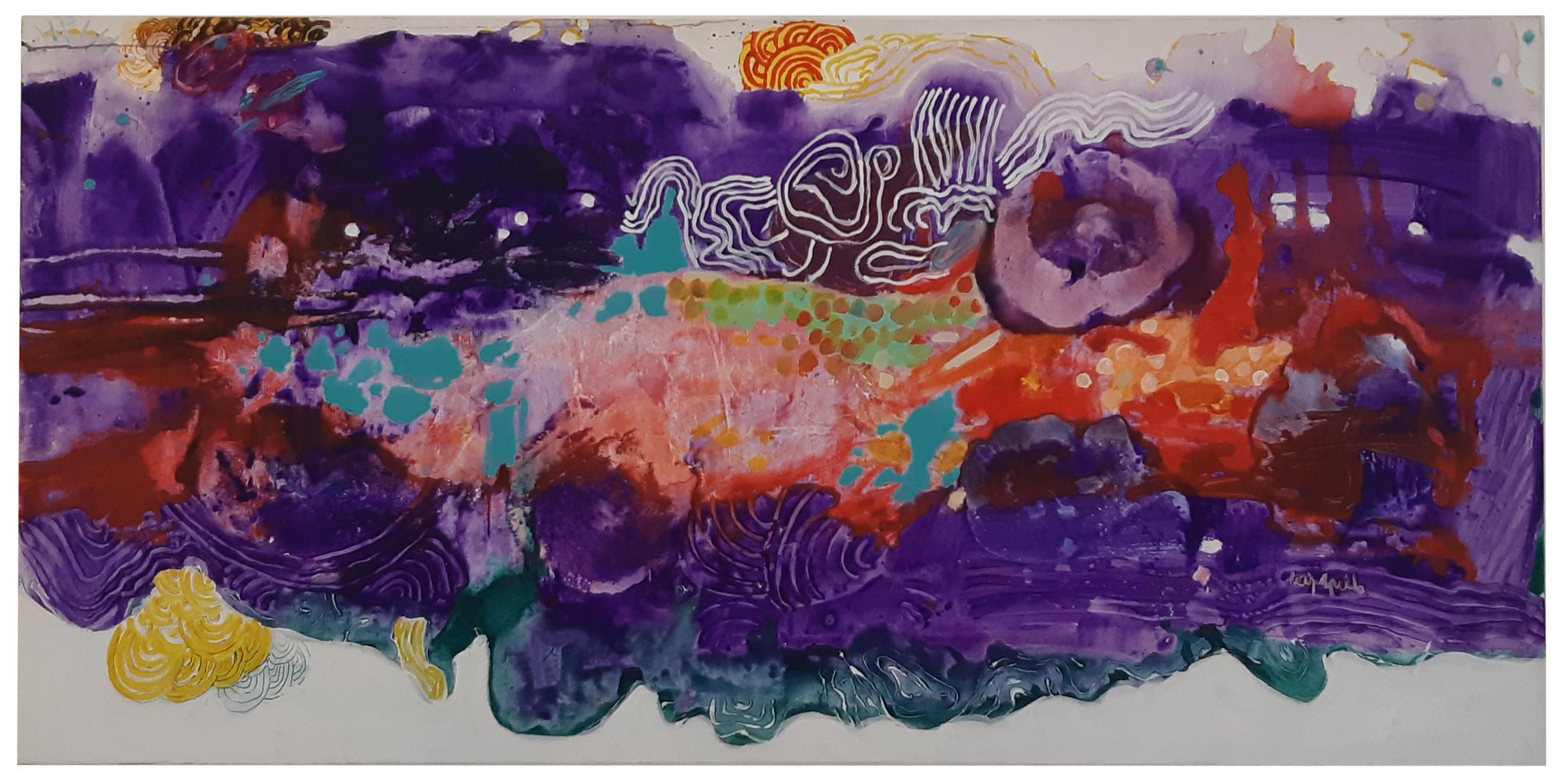 Luiz Áquila, A pintura e a pergunta do título, Acrílica sobre tela, 100 x 200 cm, 2010