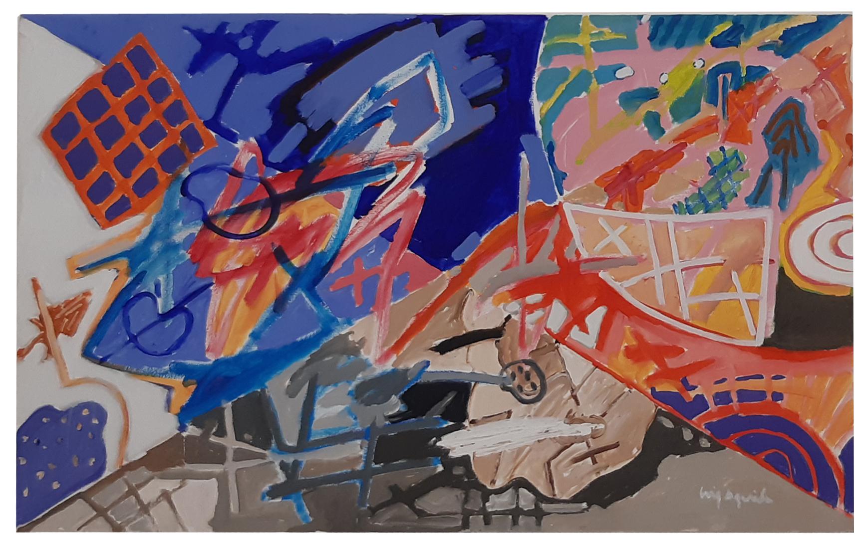 Luiz Áquila, A píntura e seu encontro, acrílica sobre tela, 80 x 130 cm, 2020