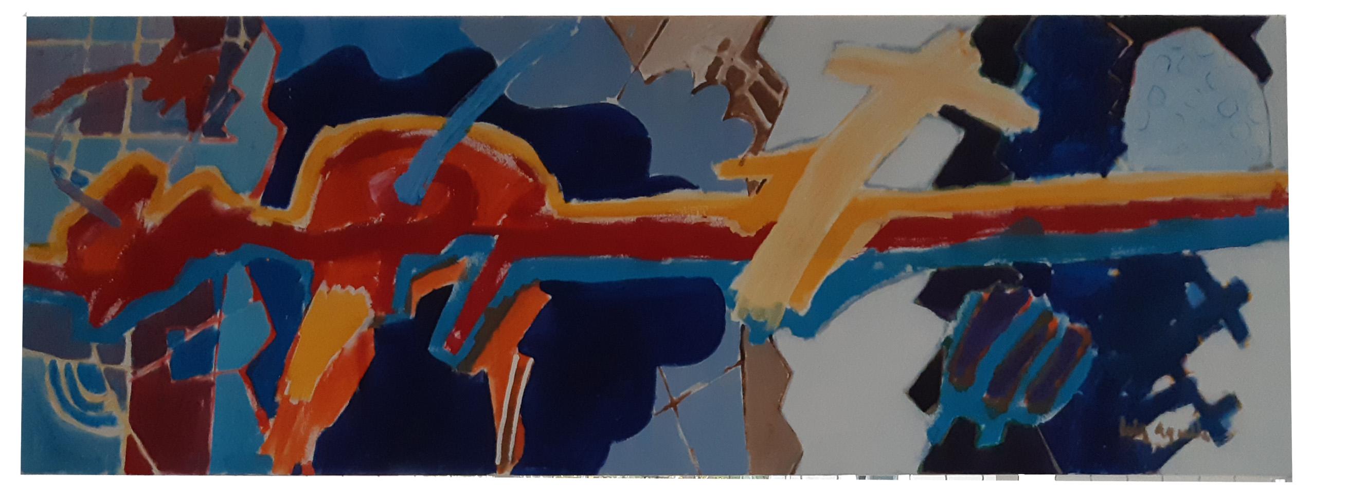 Luiz Áquila, A píntura e suas diversas conversas, Acrílica sobre tela, 60x180cm, 2020