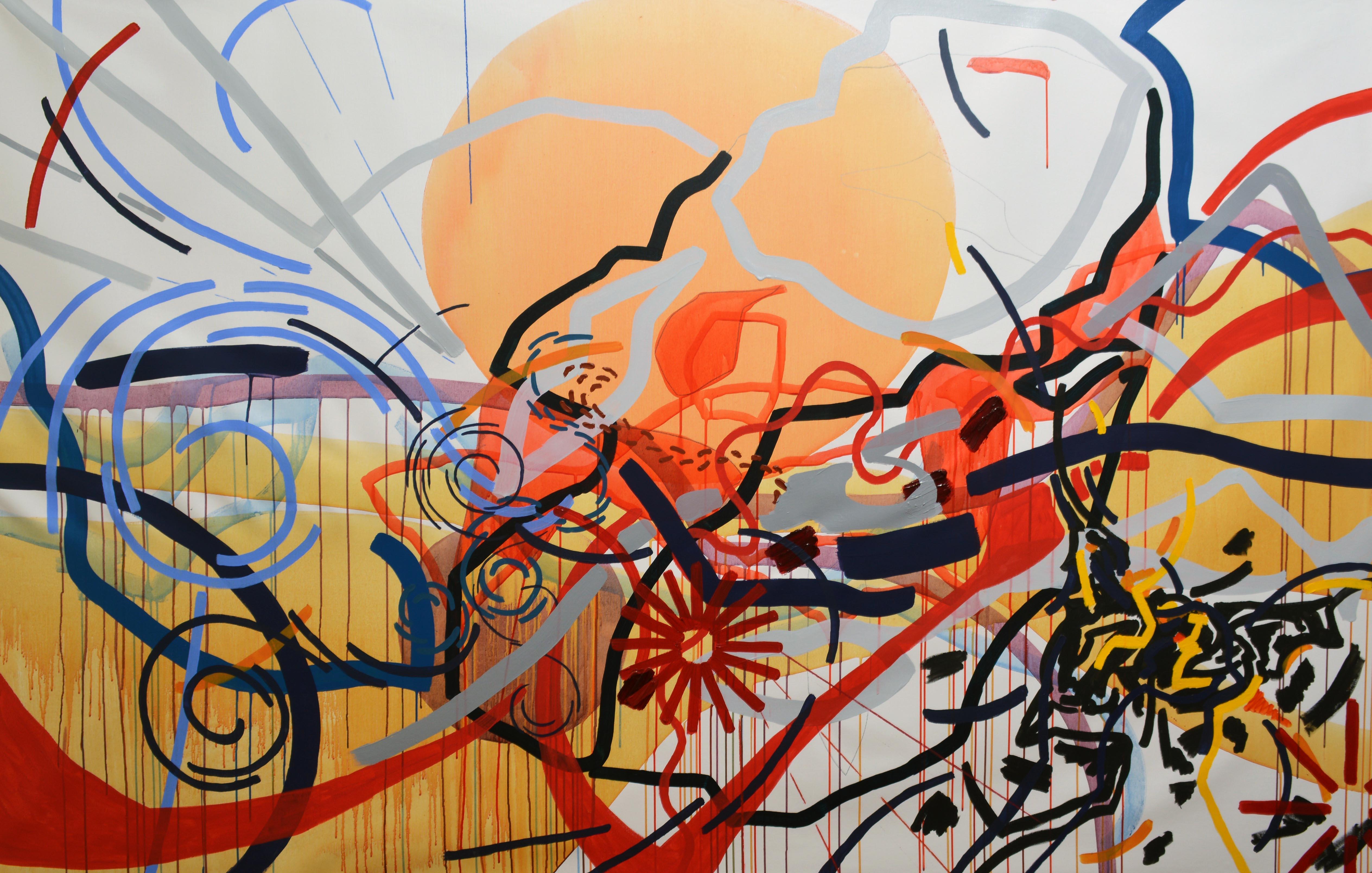 Juliana Gontijo, Ponto de transição, Carvão, lápis de cor, óleo e acrílica sobre tela, 140 x 220 cm, 2021